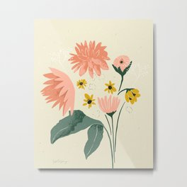 Fall Flowers from Pike- cream and pink Metal Print