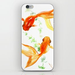 Goldfish, Feng Shui Asian Watercolor iPhone Skin