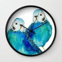 craftberrybush Wall Clocks featuring Blue budgie watercolor by craftberrybush