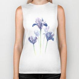 Watercolor iris print Biker Tank