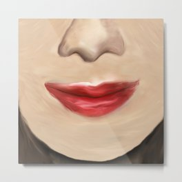 Oil Painting Female Lips and Nose Metal Print