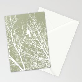 White Bird in White Tree - Moss A593 Stationery Cards
