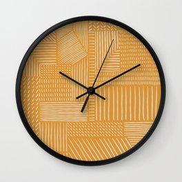 Mud Cloth / Yellow Wall Clock