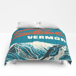 Stowe, Vermont Vintage Ski Poster Comforters