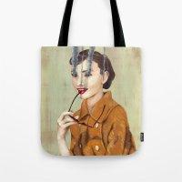 audrey hepburn Tote Bags featuring Audrey Hepburn by FAMOUS WHEN DEAD