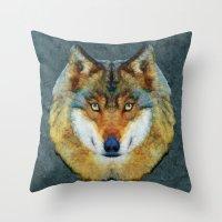 polygon Throw Pillows featuring polygon wolf by Ancello