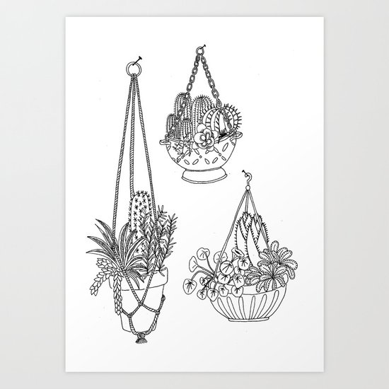 macramé plant hanger.  Art Print