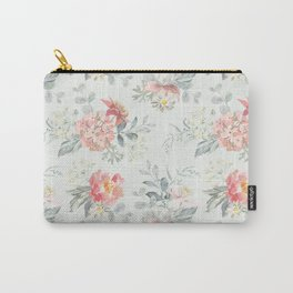 Bouquets of pink flowers and pearly gray leaves Carry-All Pouch