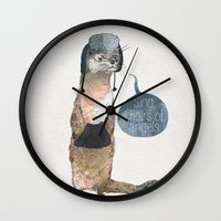 otters Wall Clocks featuring Sing, Choirs of Angels by David Fleck