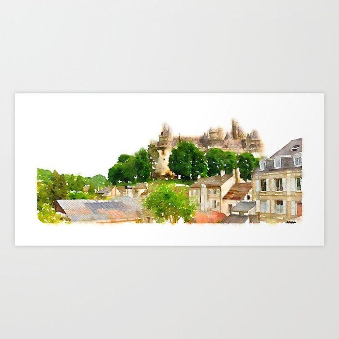 Pierrefonds Watercolor Art Print