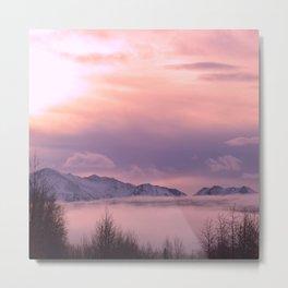 Rose Serenity Winter Fog Metal Print