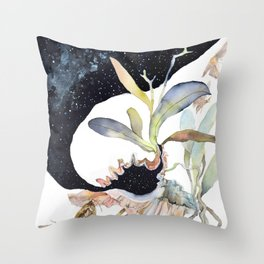 Space Psychedelic Orchids Moths Sky Black and White Throw Pillow