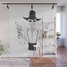 Gangster skull - grim  reaper cartoon - black and white Wall Mural