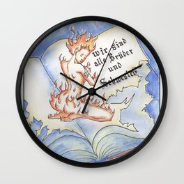 Never burn books! Wall Clock