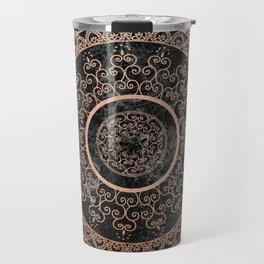 Mandala - rose gold and black marble Travel Mug