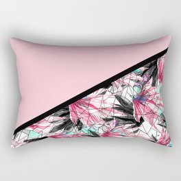 Blush Pink and Teal Abstract Tropical Leaves Rectangular Pillow
