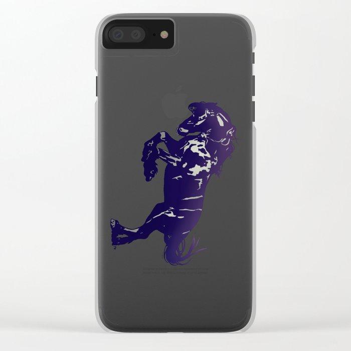 Dark Blue Stallion Clear iPhone Case