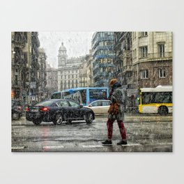 Nieve en Barcelona Canvas Print