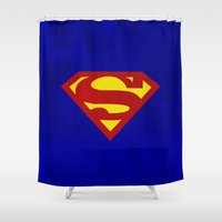superman Shower Curtains featuring Superman by Some_Designs