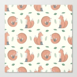 Foxes on Cream Background Canvas Print