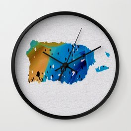 Colorful Art Puerto Rico Map Blue and Brown Wall Clock