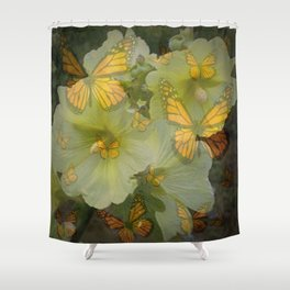 DECORATIVE MONARCH BUTTERFLY FLORAL DREAMS Shower Curtain