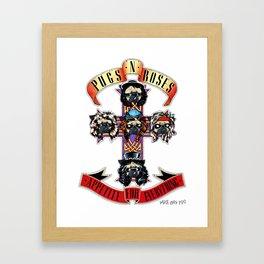 Pugs n Roses Framed Art Print