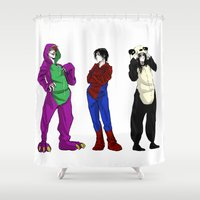 scary Shower Curtains featuring Scary by Rabiscos e Tal