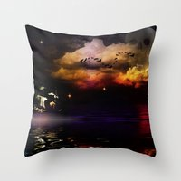 pirate ship Throw Pillows featuring Pirate Ship by Moon Willow