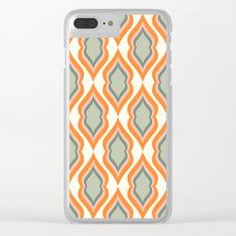 Mid Century Mod Retro Modern Shapes Orange Pink Green Clear iPhone Case