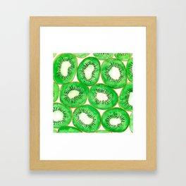 Watercolor kiwi slices pattern Framed Art Print