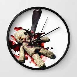 Sack Voodoo doll and bloody knife Wall Clock