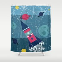 spaceship Shower Curtains featuring Spaceship by Kakel