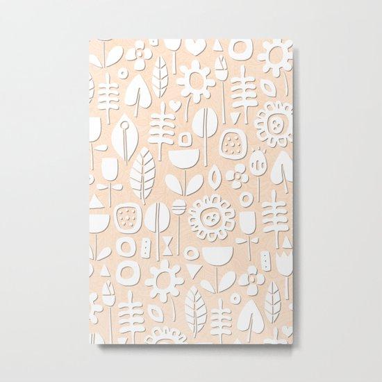 paper cut flowers white peach Metal Print