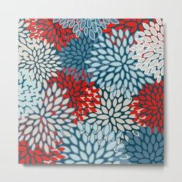 Flower Blooms, Red, Teal and Blue, Aesthetic, Floral Prints Metal Print