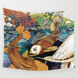 Koi & Egret Wall Tapestry