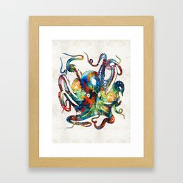 Colorful Octopus Art by Sharon Cummings Framed Art Print