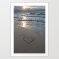 Heart at the beach Art Print