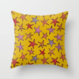 Starfishes in mustard background Throw Pillow