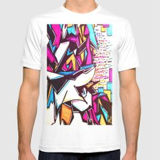 Blockage White Mens Fitted Tee SMALL