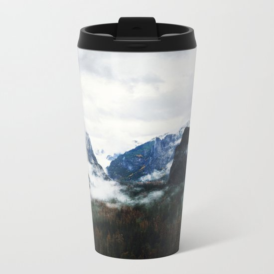 Cloudy Forest Great Outdoors Mountains Photography Metal Travel Mug