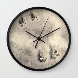 snow prints Wall Clock