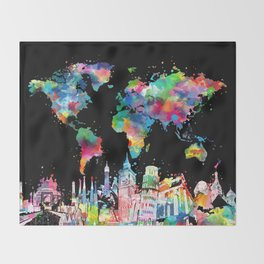 world map city skyline 3 Throw Blanket