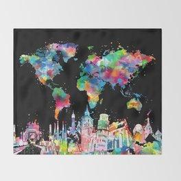 world map city skyline 3 Throw Blanket