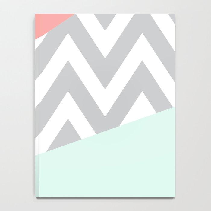 Original Mint & Coral Chevron Block Notebook