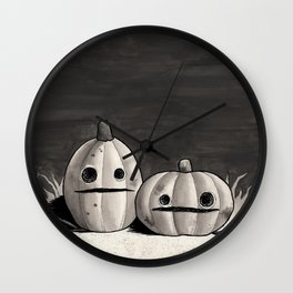 Old Friends - Halloween Pumpkins in Black and Grey Wall Clock