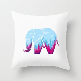 Forest elephant Throw Pillow