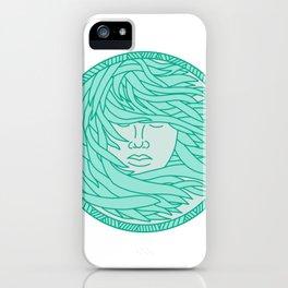 Polynesian Woman Sea Kelp Hair Circle Mono Line iPhone Case