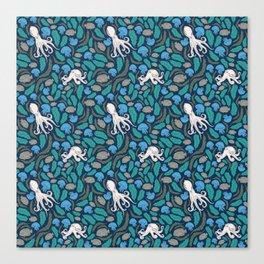 Octopus Nautical Marine Pattern Canvas Print