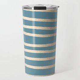 Abstract Drawn Stripes Gold Tropical Ocean Blue Travel Mug